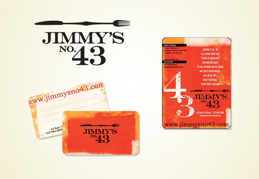 Jimmys No. 43 logo and stationery